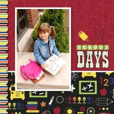 One photo on one page - School Days Cover Digital Scrapbooking Idea Scrapbook Cover, Baby Scrapbook Pages, Kids Scrapbook, Scrapbook Cards, School Scrapbook Layouts, Scrapbooking Layouts, Digital Scrapbooking, School Days, Children