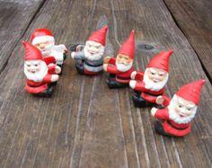 Set of 6 Vintage Swedish Handmade Christmas ornaments Swedish Holiday decor Tomte elves Santa ornaments old Christmas decor