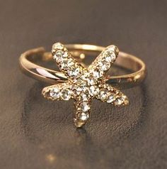 Starfish Rhinestone Adjustable Ring | LilyFair Jewelry, $10.99! - BEACH ATTIRE