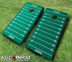 This top of the line Football Field Cornhole Set is sure to bring life to any party! Order yours TODAY at www.ajjcornhole.com