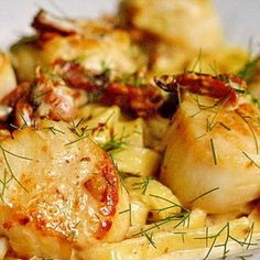 Pan Seared Scallops with Fettuccine in Bacon Fennel Cream Sauce Recipe | Just A Pinch Recipes