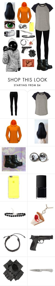 """Creepypasta: Daughter of Hoodie"" by ender1027 ❤ liked on Polyvore featuring Yves Saint Laurent, Current/Elliott, Kenzie, NARS Cosmetics, Smith & Wesson and Claude Dozorme"