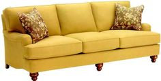 #219 This English sofa, with its roll armrests, T-cushion seats and turned wood legs, exudes style and comfort in classic design. Try it in leather perhaps, and surprise yourself as to how reasonably priced the Transitional 219 can be!