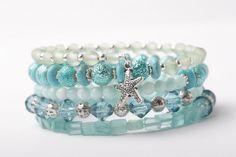 Memory Wire Bracelet, Wrap Bracelet, Starfish Bracelet, Aqua Blue And Mint Green, Stack Bracelet, Bl on Luulla