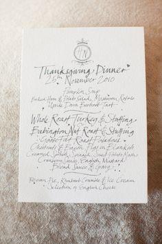Thanksgiving wedding menu in Somerset, England.