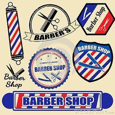 barber shop signs | Set of vintage barber shop labels and stamps, vector illustration.