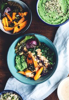 Back to the roots bowl: with clean tapas - bright green savoy cabbage, dark kale, roasted sweet potato and pumpkin seeds, sprouts and broccoli mash.