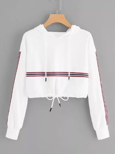 To find out about the Striped Tape Panel Drawstring Detail Hoodie at SHEIN, part of our latest Sweatshirts ready to shop online today! Kpop Outfits, Teen Fashion Outfits, Girl Outfits, Crop Top Outfits, Cute Casual Outfits, Cute Sweatshirts, Hoodies, College Outfits, Cropped Hoodie