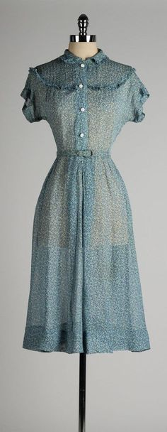 vintage 1940s dress . sheer blue chiffon . by millstreetvintage