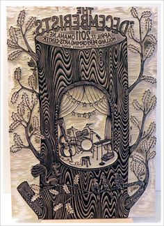 Linocut for Decemberists poster by Tugboat Printshop - love love love this design