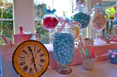 Alice in wonderland birthday party in blue yellow and pink white rabbit clock Pink White Rabbit, Turquoise Nursery, Shabby Chic Birthday, Alice In Wonderland Birthday, Tea Party Birthday, Sweet 16, Blue Yellow, Cake Decorating, Bridal Shower