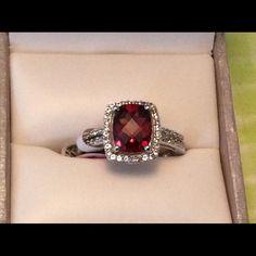 NWT SS Garnet & White Sapphire ring NWT Sterling Silver Garnet & Created White Sapphire RIng Jewelry Rings