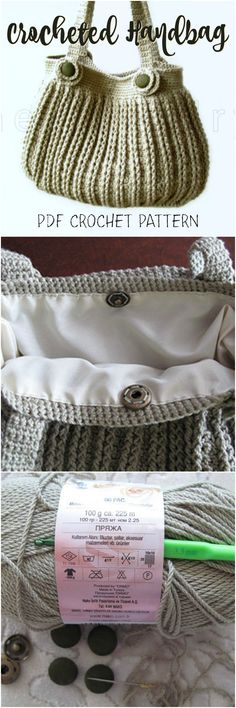 What a sweet simple crocheted handbag pattern! I love the ribbed pattern and the buttons at the handles. #etsy #ad #crochet #pattern #purse #handbag #bag
