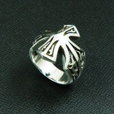 TRIBAL MALTESE CROSS 925 STERLING SILVER 7.25 US Size BIKER ROCKER RING cs-r002
