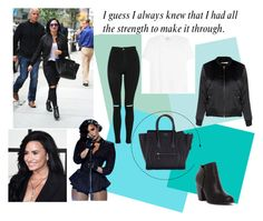 """""""Steal the style - DEMI LOVATO"""" by evelina-hagstrom on Polyvore featuring CÉLINE, Topshop, Michael Antonio, Yves Saint Laurent and Glamorous"""