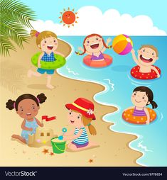 Group of kids having fun on the beach vector image Cartoon Drawing For Kids, Art Drawings For Kids, Diy For Kids, Crafts For Kids, Picture Comprehension, Beach Illustration, Picture Composition, School Painting, Beach Kids