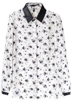 Beige Contrast PU Leather Lapel Long Sleeve Floral Blouse US$30.98