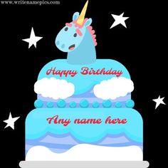 write a name on unicorn birthday cake photo. make a unicorn birthday wishes cake with name pic. free edit happy birthday cake wishes cake images with name. Happy Birthday Cake Writing, Birthday Cake Write Name, Happy Birthday Chocolate Cake, Birthday Wishes Cake, Cake Name, Happy Birthday Cakes, Greeting Card Maker, Birthday Greeting Cards, Birthday Greetings