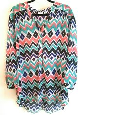 "Cato 26/28 Chevron Print Popover Top Plus Size 4X This Cato 26/28 Chevron Print Popover Top is a Plus Size 4X in great used condition. No stretch. 100% polyester. Semi-sheer chiffon, best with a cami. Bust measures 29"" across laying flat, measured from pit to pit, so 58"" around. 32"" long in front, 35"" long in back. ::: Bundle 3+ items from my closet and save 30% off when you use the app's Bundle feature! ::: No trades. Cato Tops"