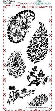Nature's Paisleys Unmounted Rubber Stamp Sheet - DL - /londonjewel/creativity-impressive-stamps/