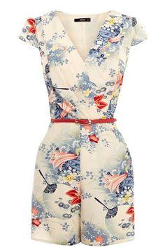 Memorose Womens Vintage Sexy Lily Floral Deep V Neck Romper Playsuit Jumpsuit…