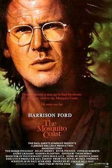 The Mosquito Coast is a 1986 American film directed by Peter Weir, based on the novel by Paul Theroux. The film stars Harrison Ford, Helen Mirren, and River Phoenix. The film tells the story of a family that leaves the United States and tries to find a happier and simpler life in the jungles of Central America. It was shot in the cities of Cartersville and Rome in Georgia, in addition to Baltimore, Maryland, and Belize.
