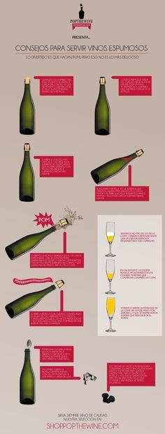 Unos pequeños consejos para manipular y servir adecuadamente los vinos espumosos ya sean cava, champán o lambrusco.