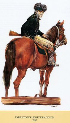 AWI British: British Legion (Tarleton's) Dragoon, 1780, (artist unknown). Help eliminate poor pinning! If you know the artist and can supply a link, please update this pin. Thank you!
