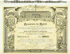 Azucarera de Madrid Sociedad Anónima, Madrid, 1 July 1901, 5 % Bond for 500 Pesetas, #2263, 25.3 x 33 cm, buff, brown, strip glued on lower edge, superb design with view of the sugar plant.