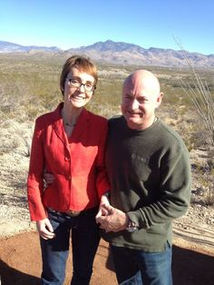 Gabby Giffords and Mark Kelly visit the Gabe Zimmerman Davidson Canyon trailhead outside of Tucson, January 7, 2012.