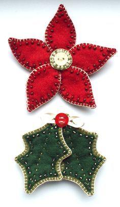 Poinsettia and holly leaf felt Christmas ornaments Christmas Makes, Noel Christmas, Homemade Christmas, Christmas Poinsettia, Christmas Items, Felt Christmas Decorations, Felt Christmas Ornaments, Beaded Ornaments, Box Decorations