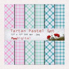 Digital Paper Pack Tartan Pastel Patterns Backgrounds Texture Overlay - Instant Download
