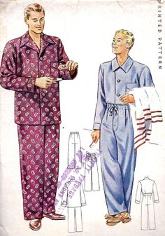 1940s Men's Pajamas Vintage Sewing Pattern by MissBettysAttic, $16.00
