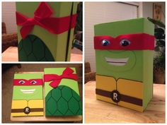 This is the Ninja Turtle Valentine box we made as a family project. There is a hole in the top to put valentines in, and you can still take the lid off to get everything out.