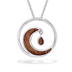 Sterling Silver Wave Pendant with Koa Wood* Inlay (Chain Included) - New From Na Hoku - Collections