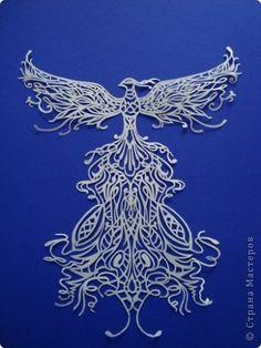 Картина, панно, рисунок Вырезание, Вытынанка: Жар-птица Бумага. Фото 3