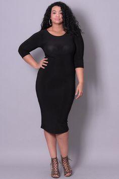 Plus Size Draped Open Back Dress - Black