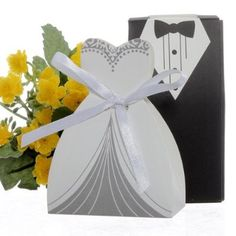 BESTOPE® 100pcs Wedding Party Bomboniere Cake Gift Boxes Favor Dress & Tuxedo Bride and Candy Box