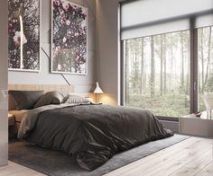 minimalist gray bedroom deco