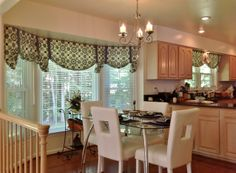 Ordinaire Bay Window Kitchen Curtains And Window Treatment Valance Ideas With Dining  Table And Chairs. This Picture Is One Of Many Ideas On 20 Kitchen Curtains  And ...