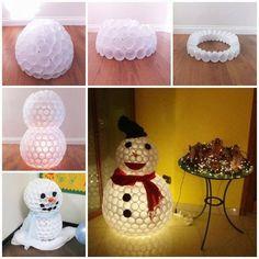 Fun Snowman From Plastic Cups