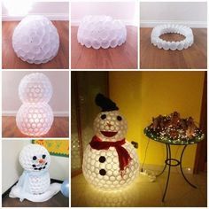 Fun Snowman From Plastic Cups