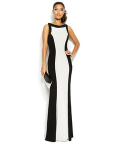 JS Boutique Sleeveless Bead-Trim Colorblock Gown