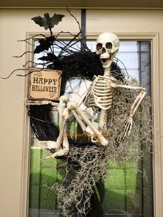 LAST CALL for this Skeleton wreath, happy Halloween wreath, Halloween wreath by ThisandthatbyKelly2 on Etsy https://www.etsy.com/listing/474823791/last-call-for-this-skeleton-wreath-happy