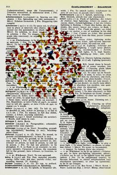 Vintage Book Page Art  Vintage French to English Dictionary Page Original Art Elephant Loves Butterflies Black Silhouette. $10.00, via Etsy.