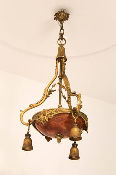 Stunning French Gilt Bronze And Alabaster Chandelier