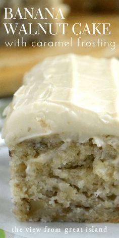 Banana Walnut Cake with Caramel Frosting ~ part banana bread, part snack cake, part blondie, this little banana cake is a must make! Cake Banana Walnut Cake with Caramel Frosting Just Desserts, Delicious Desserts, Dessert Recipes, Baking Desserts, Cake Baking, Banana Walnut Cake, Banana Cakes, Frosting For Banana Cake, Banana Cake With Oil