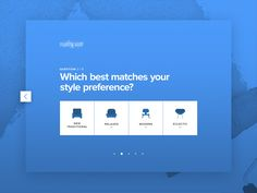 What's your style? designed by Ryan Johnson for Armor. Quiz Design, Survey Design, Web Ui Design, Form Design, Website Design Layout, Web Layout, Website Design Inspiration, Web Design Inspiration, Ui Patterns