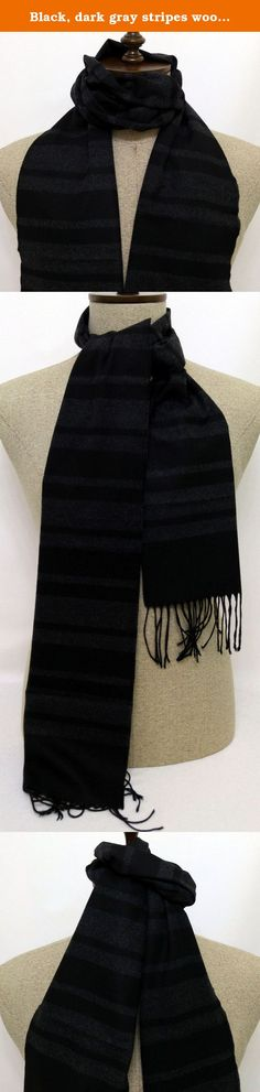 """Black, dark gray stripes wool and cashmere men's scarf - SC214. SC214 Width : 30 cm (11.81"""") Length : 170 cm (66.93"""") Material : Wool and Cashmere."""