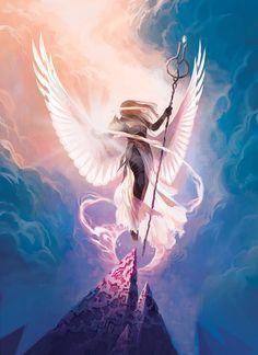 Star City Games Angel Token with Process Dark Fantasy Art, Fantasy Artwork, Fantasy World, Fantasy Art Angels, Fantasy Races, Fantasy Warrior, Character Inspiration, Character Art, Character Design